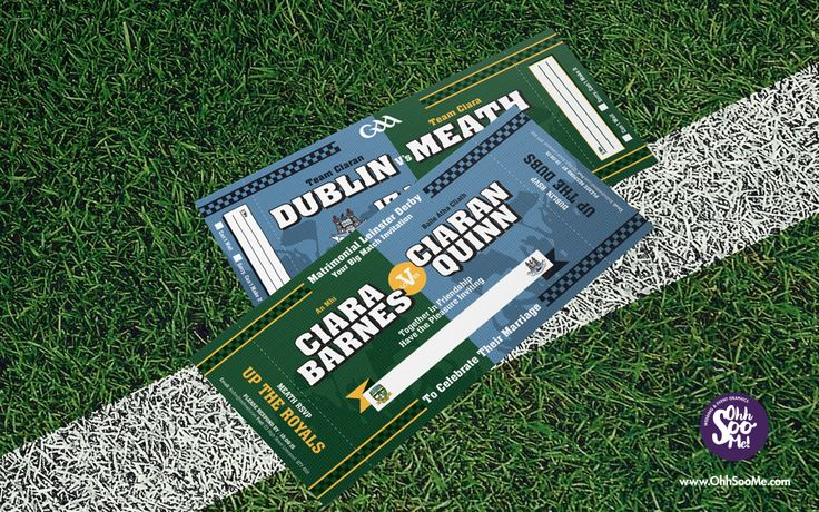 GAA Half and Half scarf invitation. A quirky fun wedding invitation for GAA lovers. The perfect way for the happy couple to display their divided county or club loyalties. This unique wedding invitation design is inspired by the look of a traditional supporters scarf. #GAA #wedding #invitation. #GAAInvitations #football #hurling #crokepark