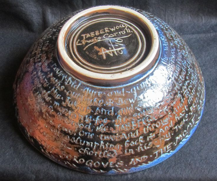 Jabberwocky, the entire poem sgraffitto inscribed on this bowl outside.