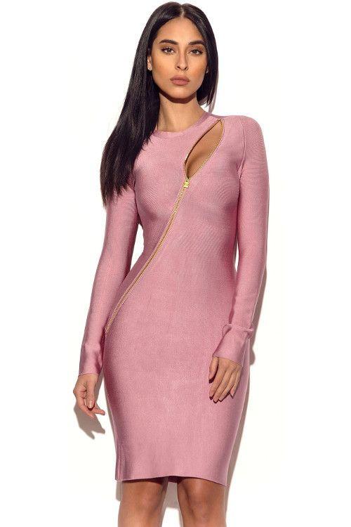 Asymmetric Zip Detail Long Sleeve Bandage Dress