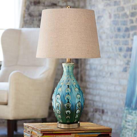 Mid-Century Ceramic Vase Teal Table Lamp - #Y4423   Lamps Plus