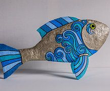 Paper mache fish by Holly St.Denis