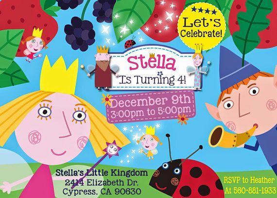Descripcion Del Articulo Ben Y La Invitacion Del Cumpleanos De Holly Por Dakota Diseno Arte Ben And Holly Printable Birthday Invitations Birthday Invitations