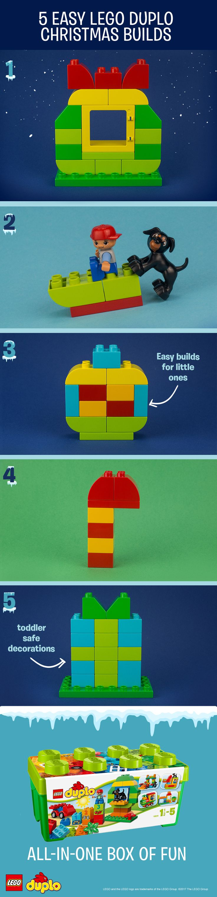 These simple, festive builds are a perfect activity to get little ones excited for the holidays – and they can all be made using one box of LEGO DUPLO bricks! These are a great beginner construction activity for you and your child to do together. Build toddler-safe decorations for your home, like a beautiful bauble or a traditional wreath - or have fun roleplaying together with a wintery sledging scene. Make all of these holiday builds with the LEGO DUPLO All-in-One-Box-of-Fun. Click to buy.