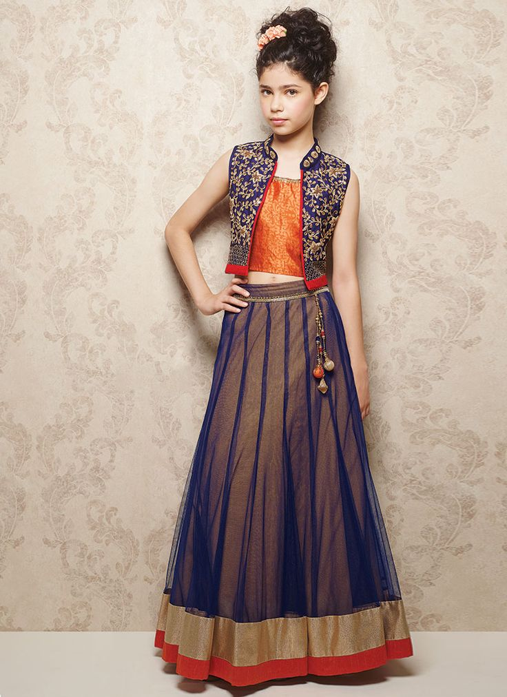 Doll Blue Net Kids Lehenga CholiBlue net kids lehenga choli from Doll feature tone on tone jacquard designed raw silk choli accessorized with beaded and crystals enhanced jacket.