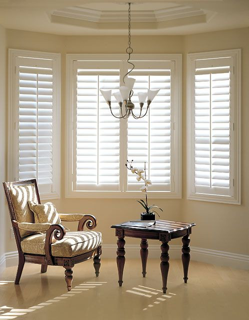 Plantation shutters in Living, dining and kitchen eating area