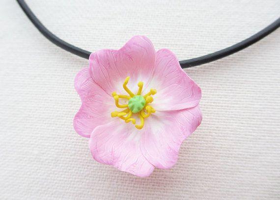 Rosa salvaje rosa collar ajustable de cuero