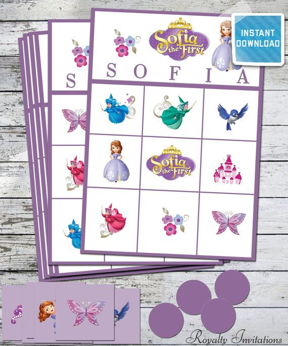 Sofia The First Birthday Party Bingo Instant Printable 10 Different Cards Game