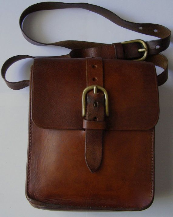 Bag - Bag leather big thick made to order by a French craftsman in the 1970s  adjustable shoulder strap  crude leather interior  Interior: 1