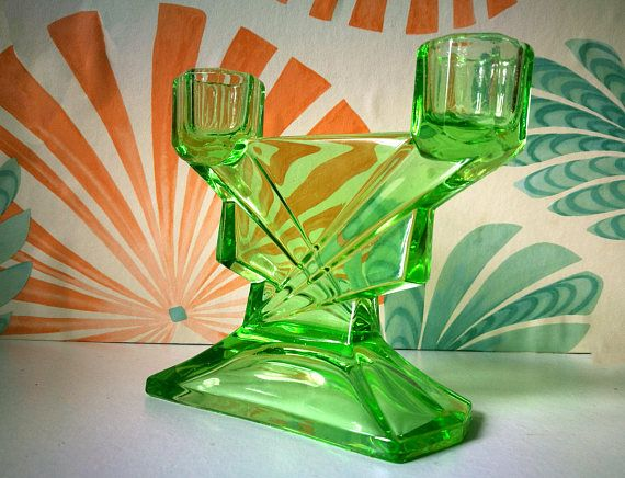 Art deco glass, Green uranium glass, Vaseline glass Candlestick holder, 1930's decor, Candle holder, Candle stick from dressing table set
