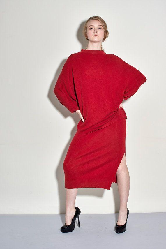 Extra Fine Merino Wool Split Skirt  Red Split by garylindesign