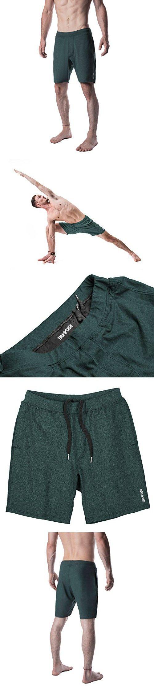 Yoga Crow Mens Swerve Shorts w/Odor-Resistant Inner Liner (Heather Green, Medium)