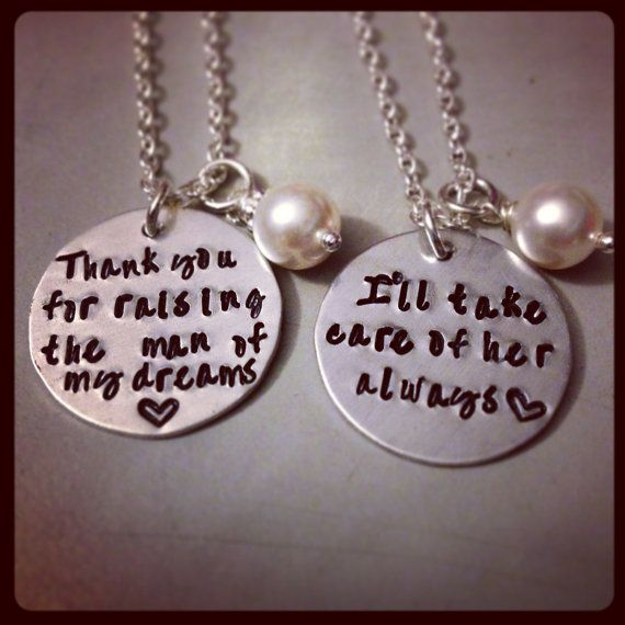 SALE-Personalized Necklace Set Hand Stamped Jewelry - Mother of the Bride Mother of the Groom Wedding Set