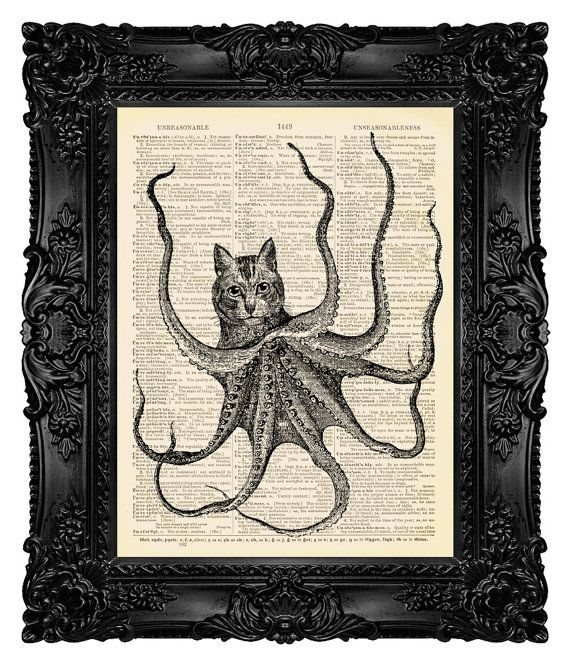 OCTOPUSSY Steampunk Cat Decor Funny Bathroom Wall Art Decor Funny Art Print Funny Animal Art Nautical Nursery Steampunk Octopus Art Print 89