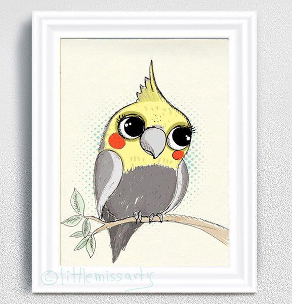 Digitaldruck - Bild - Vogel - Papagei-Nymphensittich - ein Designerstück von little-miss-arty bei DaWanda