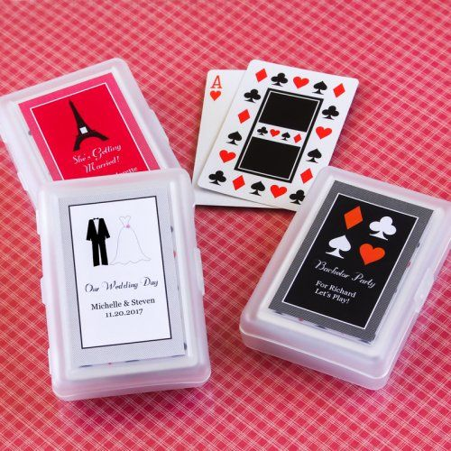 Themed Playing Cards with Personalized Labels by Beau-coup || For the welcome bags