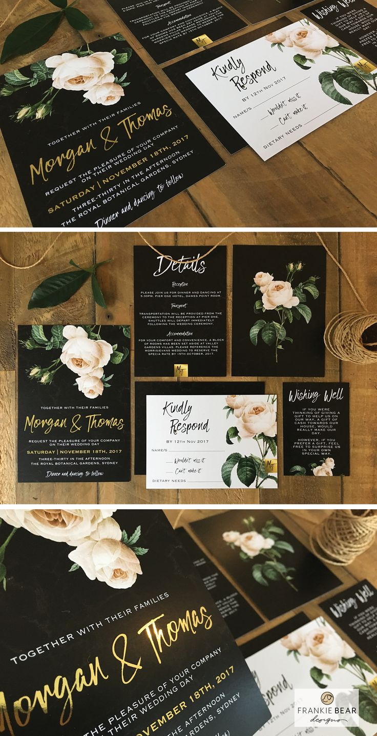 BLACK MARBLE AND GOLD WEDDING INVITATION WITH PEONY ROSE by Frankie Bear Designs. This gorgeous, elegant wedding invitation features a beautiful script font on a black marble background with a cream/white peony rose and gold foil monogram!