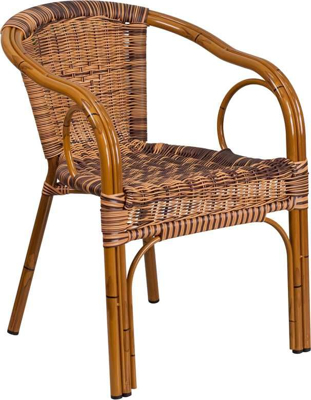 Cadiz Burning Brown Rattan Chair With Dk Red Bamboo Aluminum Frame In 2020 Patio Chairs Restaurant Patio Outdoor Chairs