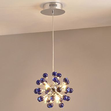 Modern Crystal Pendant light Lamp with 6 Lights in Bule Crystals , Lustres e Pendentes ,Lustre De Cristal #Affiliate