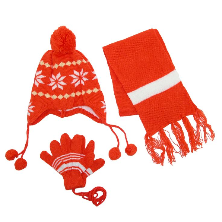 CTM Kids' Snowflakes Peruvian Hat Scarf and Gloves on a String Set, Orange. Mittens on a string. Pom on top of Peruvian hat and tassels. Scarf measures 5 by 36 inches.
