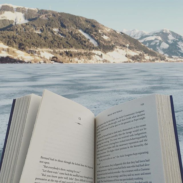 Nearing the end of Brave New World 🗻 wish you all a wonderful day! ❄️ #book #reading #bravenewworld #aldoushuxley #dystopian #classicliterature #currentlyreading #lake #mountains #travel #bookstagram #igreads #instabooks #instareads #vscobooks #booksofinstagram #bookstagramfeature #bibliophile