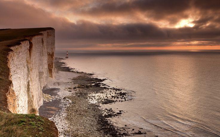 пейзаж, рассвет, пролив, обпака, скала, маяк, мыс Бичи-Хед, Ла-Манш, Восточный Сассекс, Англия