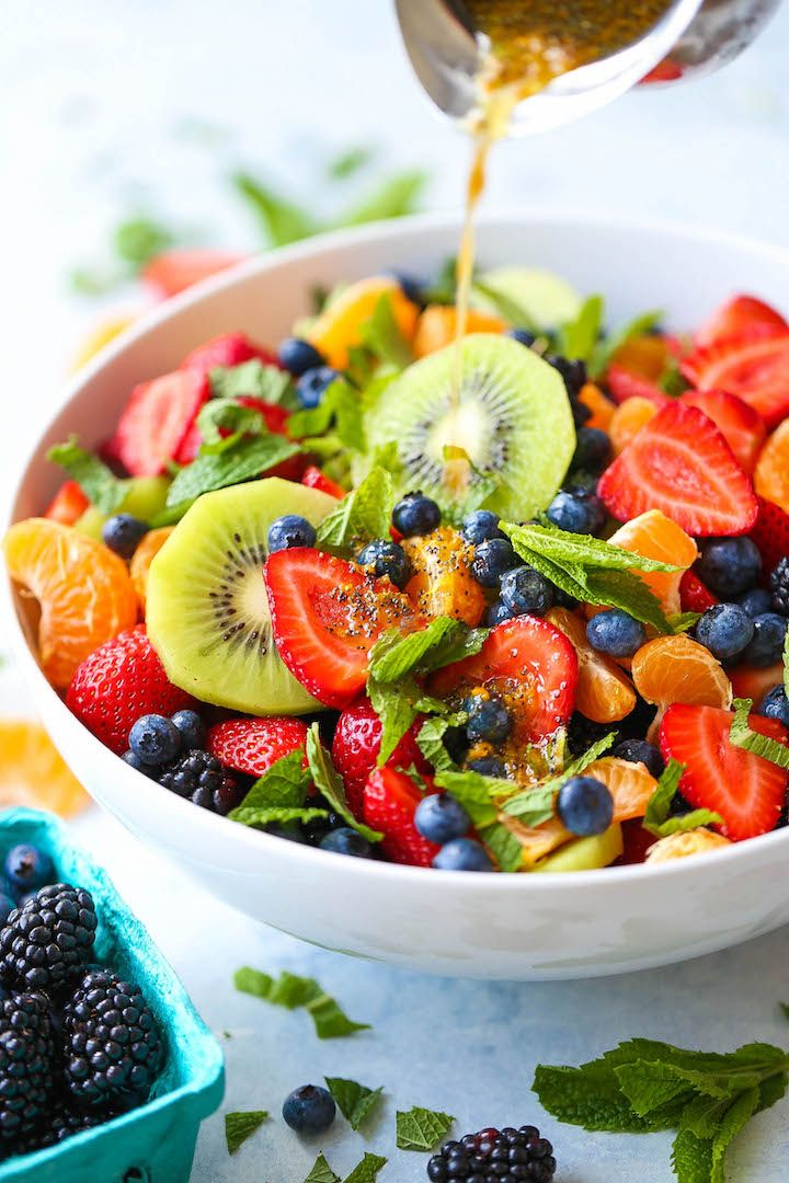 Simply the best and easiest fruit salad! Not to mention the amazing orange poppy seed dressing.