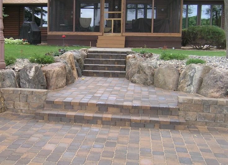 pavers for patio wood deck was replaced with paver patio and custom build paver steps. Black Bedroom Furniture Sets. Home Design Ideas