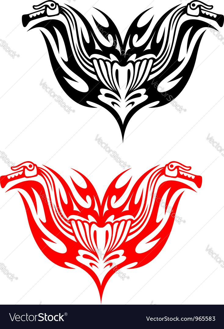 Biker tattoos with fire tribal flames Vector Image by Seamartini