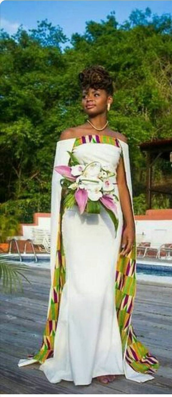 Check out this item in my Etsy shop https://www.etsy.com/uk/listing/255615198/africanethnic-kente-women-wedding-gown