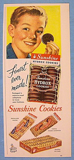 Early 50s ad for Sunshine Hydrox cookies