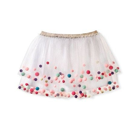 Girls' Tutu Pom Pom Skirt White