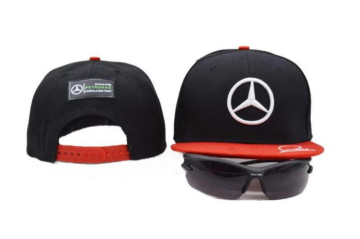 Mens Mercedes Benz AMG Petronas F1 Racing LEWIS HAMILTON Signature Embroidery Baseball Snapback Hat - Black / Red
