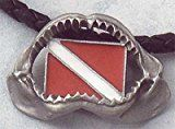 New Silver Pewter Megalodon Shark Jaw Necklace with Diver Down Flag