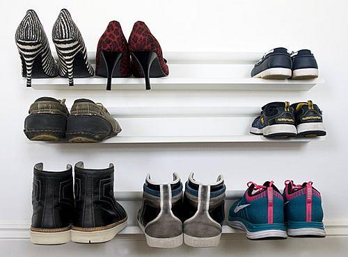 1000 ideas about wall mounted shoe rack on pinterest maximize closet space garage shoe. Black Bedroom Furniture Sets. Home Design Ideas