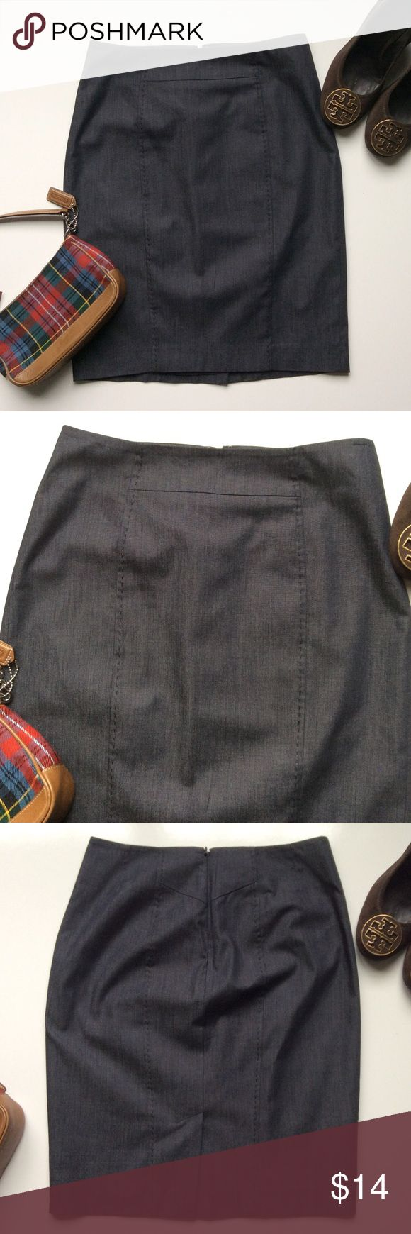 Sale!! Classic skirt! Size 0P stretchy skirt with great stitching detail!  Dark blue, almost has a denim look, but fancier! LOFT Skirts