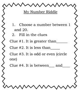 For primary students, learning math vocabulary (fewer, greater, less, between, odd and even) can be difficult. Use this fun number riddle pattern to create some of your own riddles and then send your students off to create their own. My students feel like math wizards when they can create a riddle!