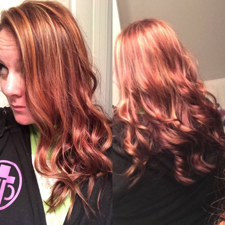 Red with Copper and blonde highlights