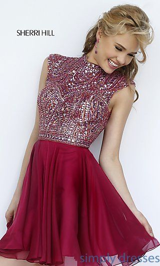 Short High Neck Open Back Dress by Sherri Hill at SimplyDresses.com