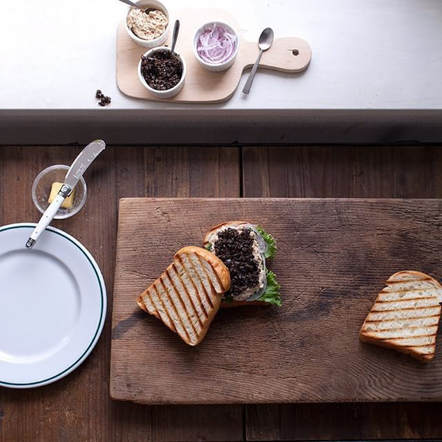 Tuna and chopped black olive sandwiches for today's brunch. 今日は大好きなブラックオリーブとツナのサンド #onthetable