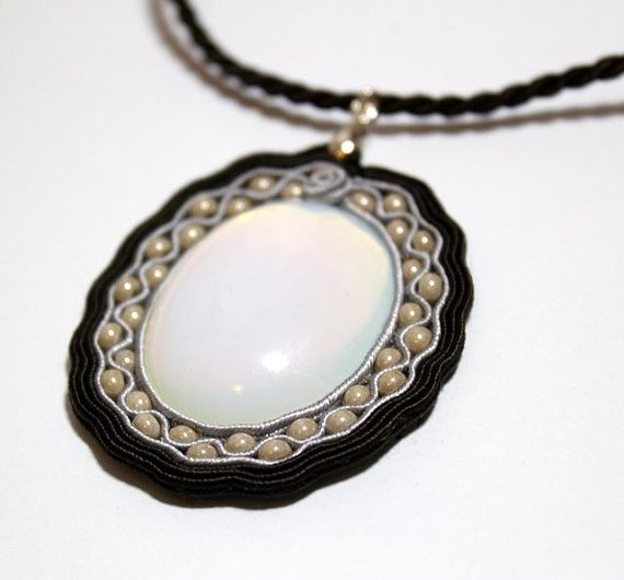 Hand Embroidered Soutache Pendant with Exquisite Opal by Herinia, $35.00