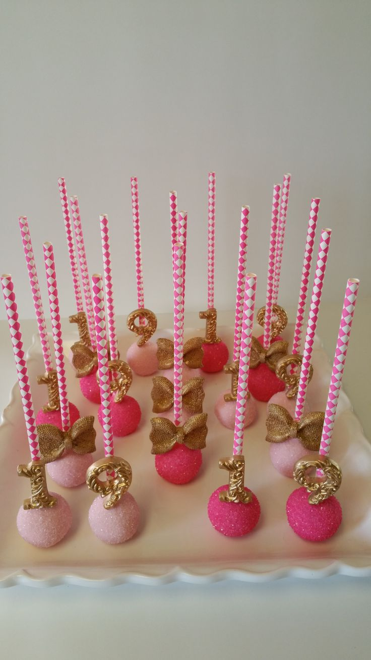Fuchsia And Light Pink With Gold Cakepops Themed