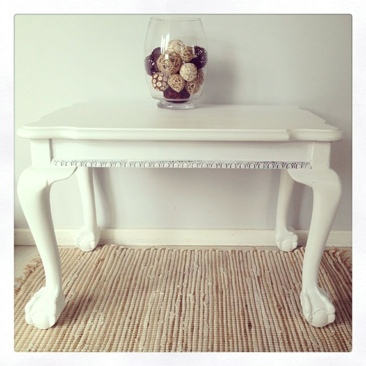 This antique oak coffee table with ornate lion paw feet and decorative carving has been redecorated into a simply stunning feature piece. This was a custom order for a client who now loves her refurbished coastal piece. This is one of my favourite furniture makeovers yet. Painted furniture. Shabby chic. Refurbished. Revamp. Distressed. DIY