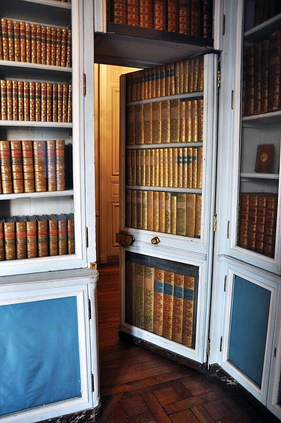 Secret door to/from Marie Antoinette's private library at Versailles built so she could escape quickly and unknown. So, she must have been aware of the public discontent and was fearful.