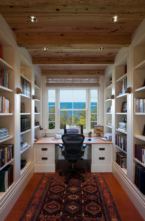 My Dream Home Office With Ocean View. Love The Wood Ceiling, Built In  Bookshelves AN The Desk.love It ALL!