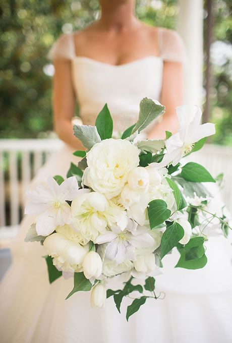 Lush White Bouquet with Tulips & Peonies. A classic white bouquet comprised of peonies, clematis, and tulips, created by A Charleston Bride.
