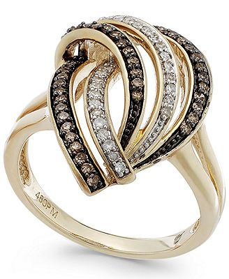 Wrapped in Love™ Brown (1/5 ct. t.w.) and White Diamond (1/8 ct. t.w.) Swirl Ring in 14k Gold