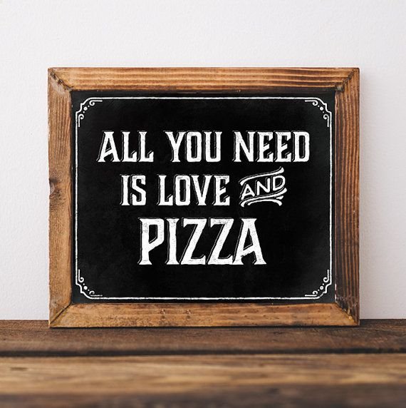 Pizza party decorations. Printable table sign: All by SunnyNotes