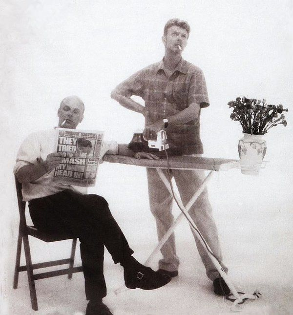 Brian Eno and David Bowie circa 1995 (courtesy of William Gibson on Twitter)