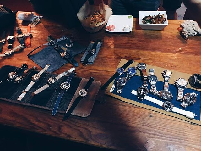REPOST!!!  Lots of great watches and people tonight. #LAWatchGang #Patek #MBandF #Rolex #Tudor #Omega #IWC #Breitling #TagHeuer #weisswatchco  repost | credit: ID @aguynamedtommy (Instagram)