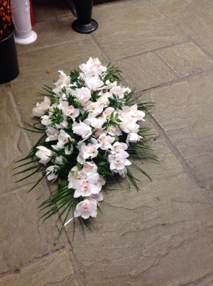 Beautiful orchid coffin spray | Funeral flowers | Sympathy ...
